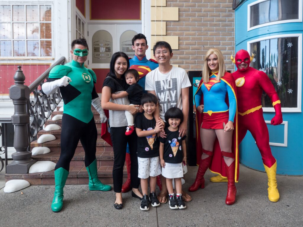 Family portrait at Gold Coast Movieworld